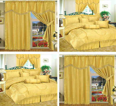 Curtain Pair Jacquard With Pelmet Separately Matching 7Pcs Comforter Amazon Gold