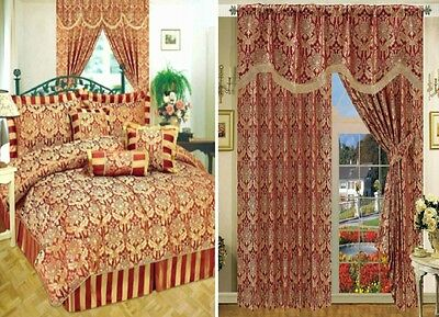 Curtain Pair Jacquard Fully Lined Separately 7 Pieces Comforter Amazon Burgundy