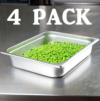 "4 PACK Half Size Stainless Steel 2 1/2"" Deep Steam Prep Table Pan Chafing Dish"