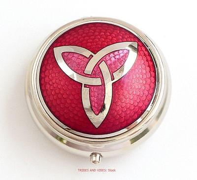 Pill Box TRIQUETRA Celtic Knot Sea Gems red enamels Silver Plate round 40mm