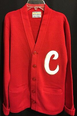 "RED Vtg Letterman Sweater ""C"" Rockabilly Cardigan Official Award Sweater USA Med"