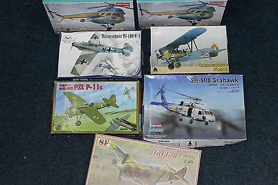 MIXED LOT 7 ps PLASTIC MODEL KIT AIRCRAFT HELICOPTER  1/72 1/48 DIFFERENT BRANDS
