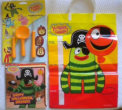 YO GABBA GABBA Halloween GOODY BAG PUMPKIN CARVING KIT & BROBEE BOARD BOOK