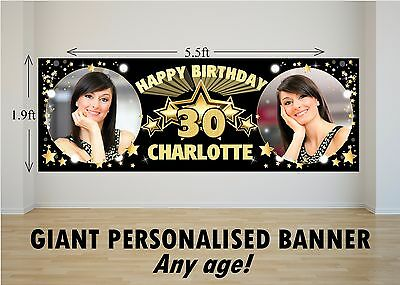 Personalised 18th 21st 30th 40th 50th Birthday Party PHOTO Banner N5 ANY AGE