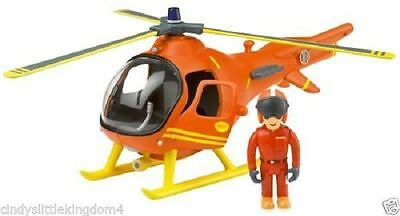 Fireman Sam Mountain Rescue Helicopter & Tom figure toy - Dmged Box