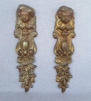 Pair of antique furniture ornaments made of ormolu France Empire style angels