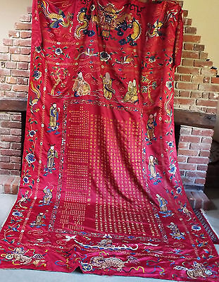 HUGE Antique Chinese Embroidered Silk Hanging Immortals Gods  Dragon Caligraphy