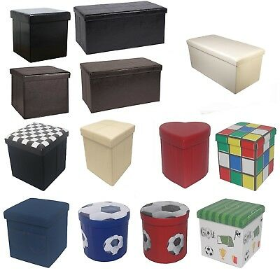 Large New Folding Storage Ottoman Seat Toy Storage Box Faux Leather Pouffe Stool