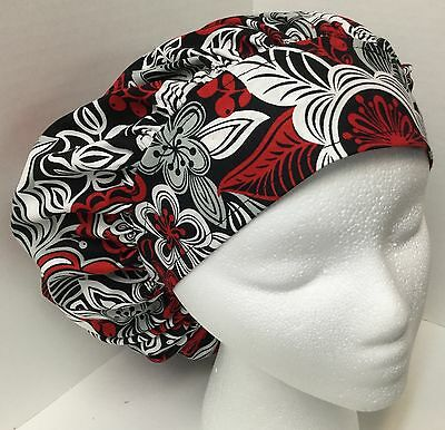 Red & White Floral on Black Large Medical Bouffant OR Scrub Cap Surgery Hat
