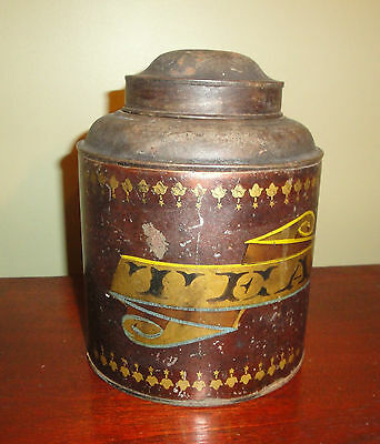 Vtg Old Stencil painted tea tin,advertising,kitchen,antique,country decor,metal