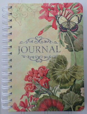 Lang Retired ~ Chelsea Garden ~Red Green Floral Butterfly Spiral Journal 1350007