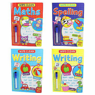 Wipe Clean Learning Book with Pen - Age 4+ - Maths Spelling or Writing
