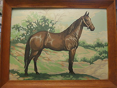 """Vintage Paint By Number Horse Beautifully Done Framed circa 1960s? 14.25""""x18.25"""""""