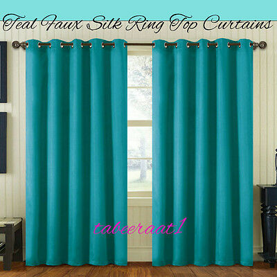 Luxury Faux Silk Curtains Ready Made Eyelet Ring Top Fully Lined With Tie Backs