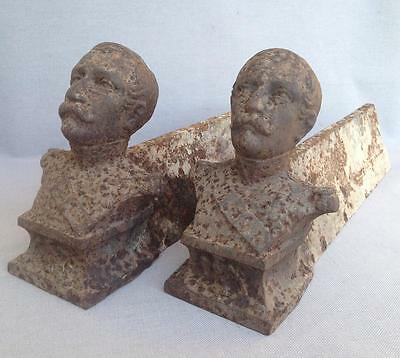 Antique pair chenets France Naoleon III made of cast iron 19th century