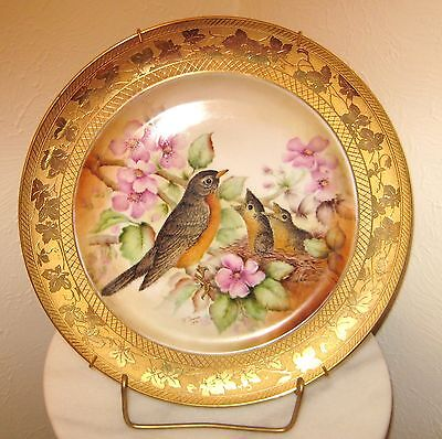 HAND PAINTED GOLD ENCRUSTED PORCELAIN  PLATE BiRDS & FLOWERS  SIGNED