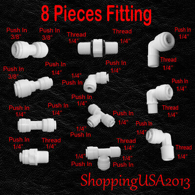 "8 Pcs Water Filter Connector Fitting Quick Connect Thread Push In 1/4"" 3/8"" BSP"