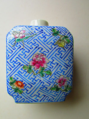 Chinese tea caddy antique hand painted likely 19th or early 20th century