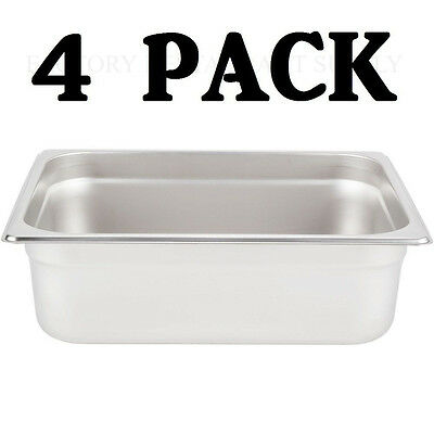 "4 PACK Half Size Stainless Steel 4"" Deep Steam Prep Table Pan Buffet Hotel 1/2"