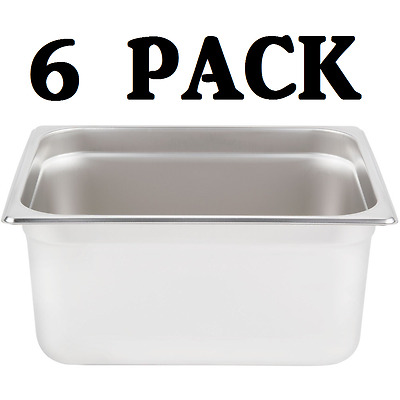 "6 PACK Half Size Stainless Steel 6"" Deep Steam Prep Table Pan Buffet Hotel 1/2"