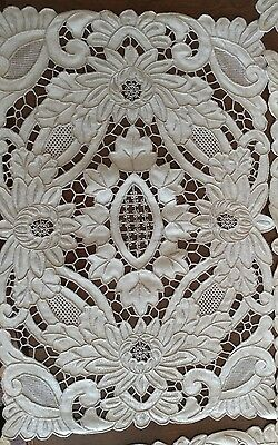 STRIKING Antique Vtg. CUTWORK & HEAVILY HAND EMBROIDERED Linen 10 Placemats(#68)