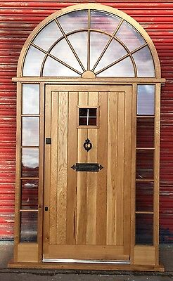Beautiful Solid Oak Front Door with Arched top light and sidelights!! Bespoke!!