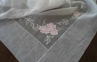 Vintage White Organdy Tablecloth Napkin Set Pink Applique Embroidered Floral 90""