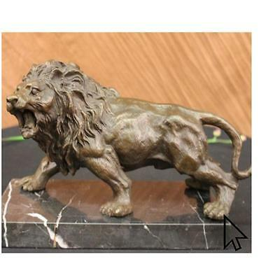 Angry Hungry Male Lion Art Deco Bronze Sculpture Statue Figurine
