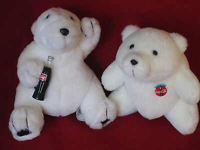 1993 and 1996  Coca-Cola Plush Bears Lot of 2