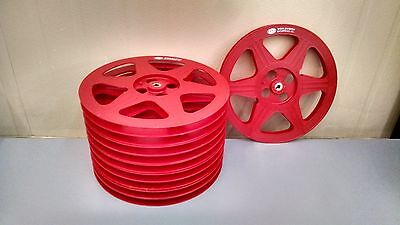 A lot of 10 red plastic 16mm 1200ft reels with Worldvision Enterprises Logo