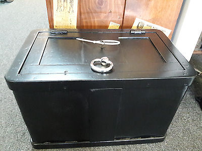 old railroad strong box w/ key - fully restored chrome plated