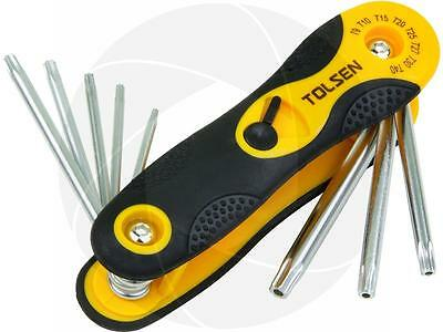 8pcs Folding Torx Star Hex Key Set T9 T10 T15 T20 T25 T27 T30 and T40 Easy Grip