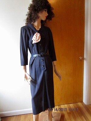 vintage Arthur Weiss rayon dress navy w/ red/white dotted scarf-1940's?