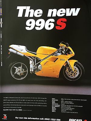 "DUCATI 996S # ORIGINAL MOTORCYCLE ADVERT # 12"" x 8"""