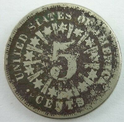 1866 or1867 Shield Nickel with Rays KM# 96 Silver 5 cent US Coin ~3926~