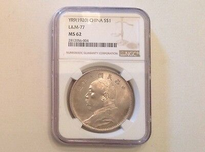 - 1920 Year 9 Republic of China Silver Dollar Choice Uncirculated Unc NGC MS 62