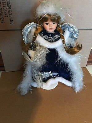 Collectors Choice Genuine Fine Bisque Porcelain Angel Doll in Blue W/ COA