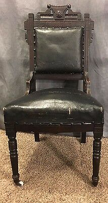 Vintage Eastlake Victorian Parlor Side Chair Leather Upholstery Gothic Antique