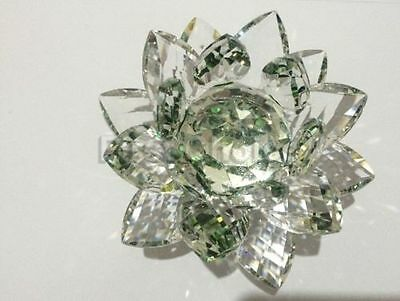 Large Green Crystal Lotus Flower Ornament With Gift Box  Crystocraft Home Decor
