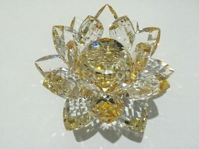 Large Gold Crystal Lotus Flower Ornament With Gift Box  Crystocraft Home Decor