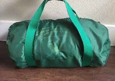 Vintage 80s John Deere Harvester Works Employee Green Duffle Bag