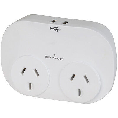 NEW Double Adaptor with 2 x USB ports 2.4A Total MS4084