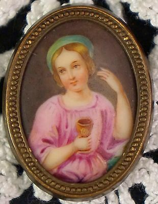 Miniature Hand Painted Porcelain Portrait Plaque in Bronze Frame Girl with Cup