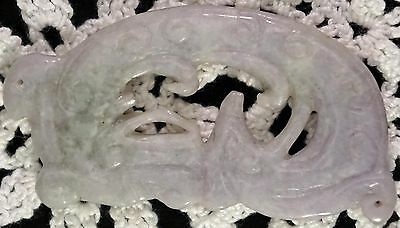 Pale Lavender Jade Pendant Carved with Mythical Beast & Ruyi Nice Details Lovely