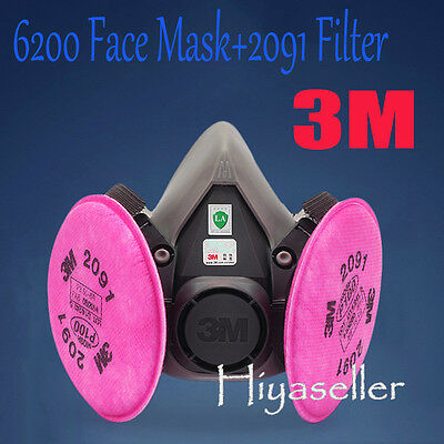For 3M 6200 Spray Paint Dust Face Half Mask Respirator + 2pcs 2091 P100 Filters