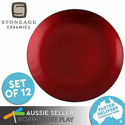 12x Red Shimmer Small Round Plate 150MM Dishwasher Safe Stoneage Ceramics