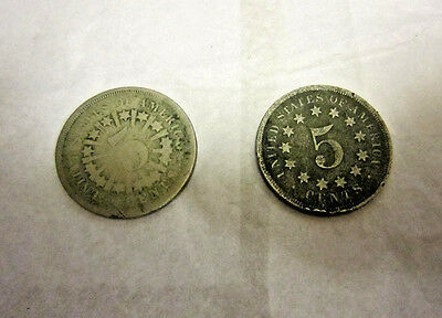 Two Shield Nickels 1866 w/Rays, 1867 Without Rays, US Coins