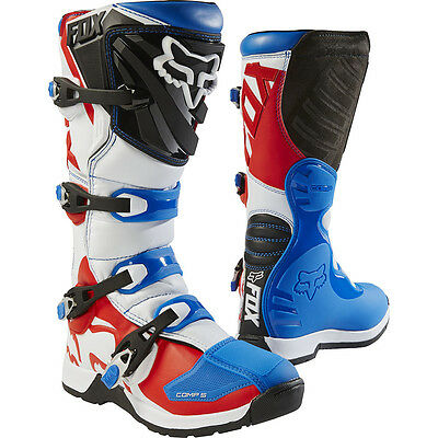 NEW Fox Racing 2017 MX Comp 5 LE Fiend Blue Red White Dirt Bike Motocross Boots