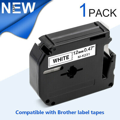 2PK MK231 M-K231 Compatible Brother 12mm x 26.2ft Black on White Label Tape