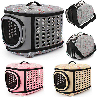 Portable Pet Dog Cat Sided Carrier Travel Tote Shoulder Bag Foldable Cage Kennel